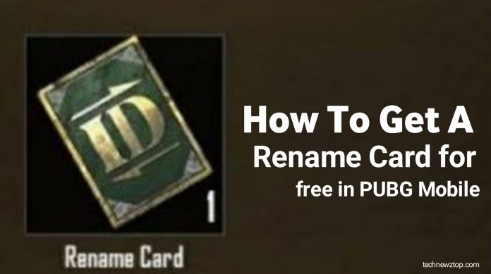 How to get a Rename card for free in PUBG Mobile