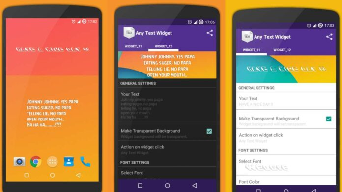 Simple Text Widget (Any Text) Best Android App